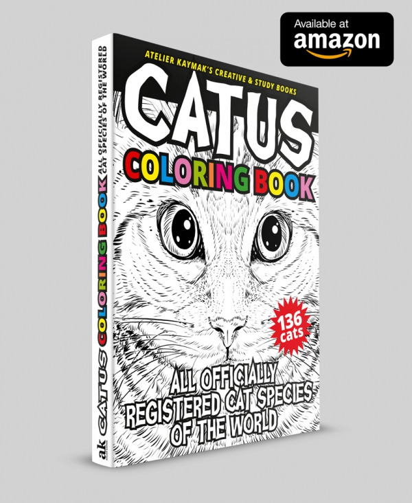 CATUS Coloring Book: All officially registered cat species of the world (Atelier Kaymak's Creative & Study Books) available at amazon